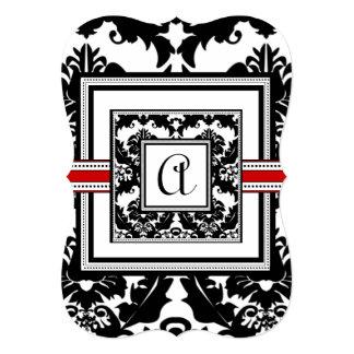 """Die Cut Black Damask Red Trim Wedding Invitation 5"""" X 7"""" Invitation Card"""