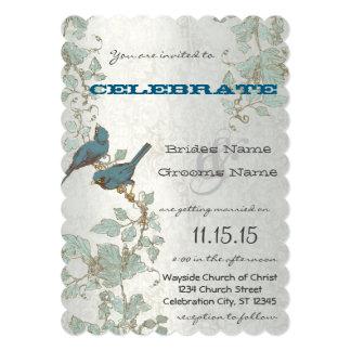 Die Cut Bluebirds Sitting In a Tree Wedding Card