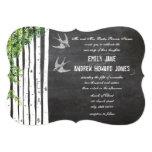Die Cut Chalkboard Love Bird Birch Tree Wedding Cards
