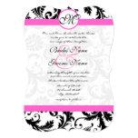 "Die Cut Damask Pink Trim Wedding Invitaitons 5"" X 7"" Invitation Card"