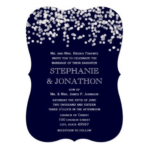 Die Cut Deep Navy Stars Wedding Invitation