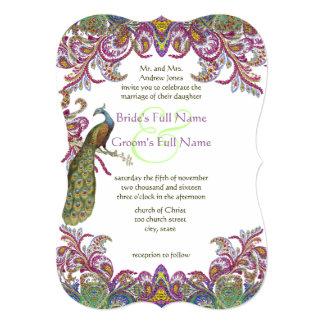 Die Cut Green and Raspberry Damask Wedding 5x7 Paper Invitation Card