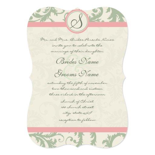 """Die Cut Green Dusty Rose Damask Wedding 5"""" X 7"""" Invitation Card"""