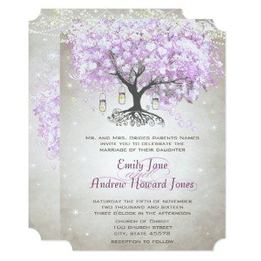 Valentines Themed Die Cut Mason Jar Lavender Leaf Tree Wedding Card