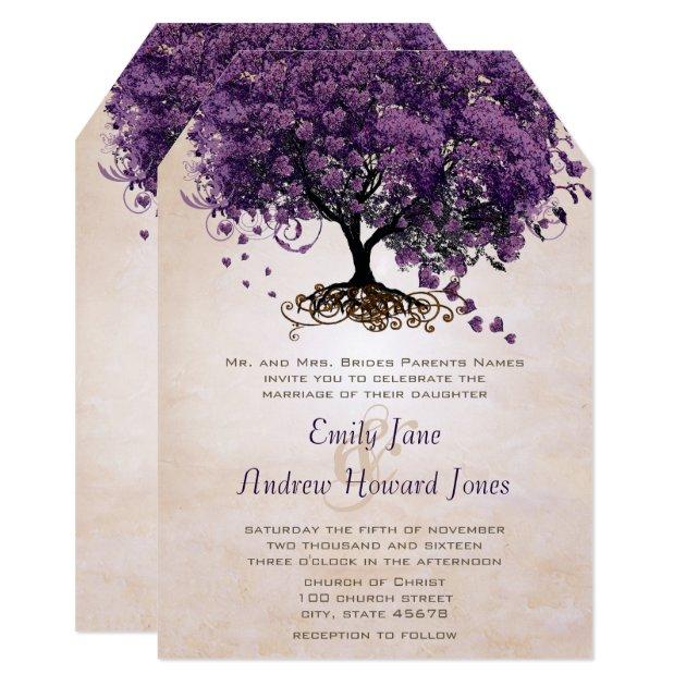 Die Cut Peach Purple HeartLeaf Tree Wedding Invite   Zazzle