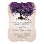 "Die Cut Peach Purple HeartLeaf Tree Wedding Invite 5"" X 7"" Invitation Card"