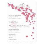Die Cut Pink Cherry Blossom Chickadee Pink Wedding Personalized Invites