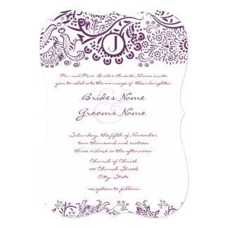 Die Cut Purple Love Birds Damask Monogram Weddings 5x7 Paper Invitation Card
