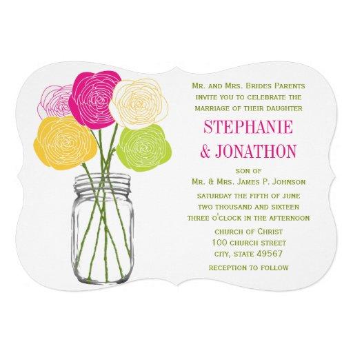 Die Cut Ranunculus Rose Lime Pink Yellow Mason Jar Custom Invitations