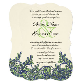 Die Cut Royal Blue Green Feather Wedding Invite