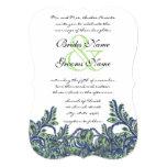 "Die Cut Royal Blue Green Feather Wedding Invite 5"" X 7"" Invitation Card"