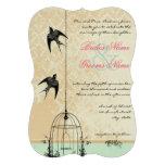 Die Cut Rustic Love Bird Birdcage Wedding Announcements