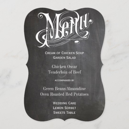 Die Cut Rustic Vintage Chalkboard Wedding Menu