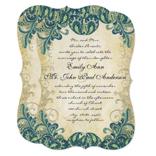 Die Cut Teal Gold & Lime Peacock Wedding Card