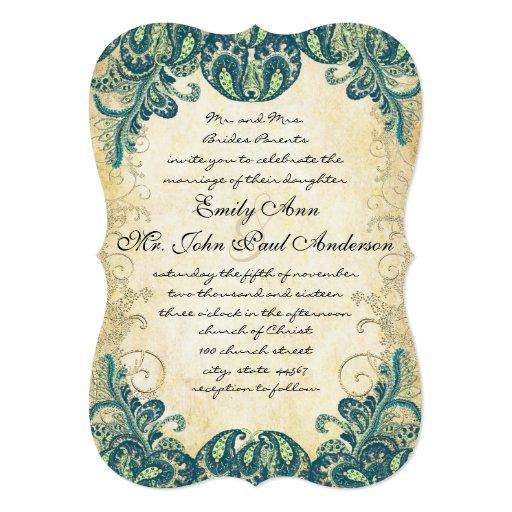 "Die Cut Teal Gold & Lime Peacock Wedding 5"" X 7"" Invitation Card"
