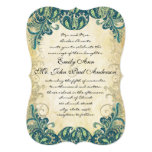 Die Cut Teal Gold & Lime Peacock Wedding 5x7 Paper Invitation Card