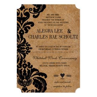 Die Cut Vintage Black Damask Wedding Card