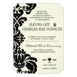 Die Cut Vintage Black Damask Wedding Personalized Announcements
