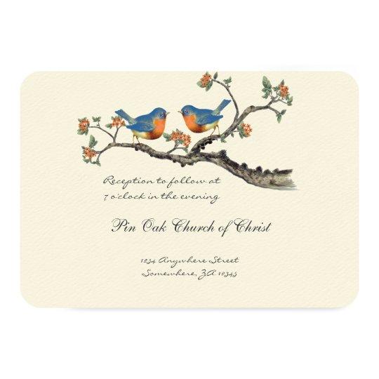 Die Cut Vintage Bluebirds Wedding Invitations