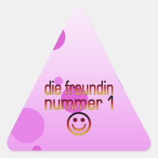 Die Freundin Nummer 1 German Flag Colors 4 Girls Triangle Sticker