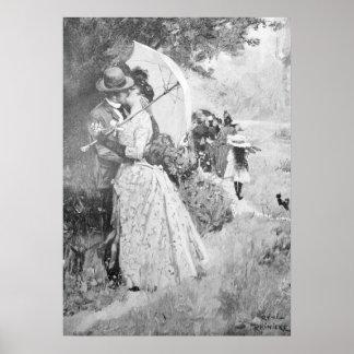 Die Gartenlaube 1895, Stolen Kiss in Black & White Poster
