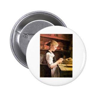 Die kleine Kartoffelschälerin Girl Peeling Potatos 2 Inch Round Button