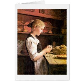Die kleine Kartoffelschälerin Girl Peeling Potatos Card
