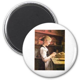 Die kleine Kartoffelschälerin Girl Peeling Potatos Magnets