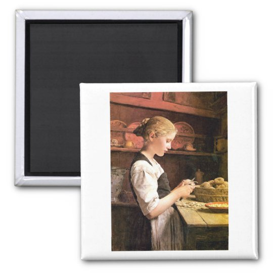 Die kleine Kartoffelschälerin Girl Peeling Potatos Magnet