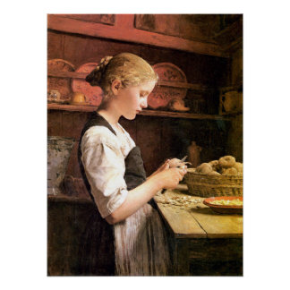 Die kleine Kartoffelschälerin Girl Peeling Potatos Posters