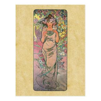 Die Rose by Alfons Mucha 1898 Postcard