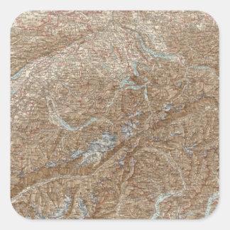 Die Schweiz,  Switzerland Atlas Map Square Sticker