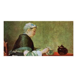 Die Teetrinkerin By Chardin Jean-Baptiste Siméon Photo Card