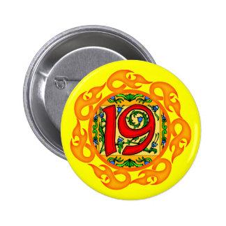 diecinueveavo Botón de la fiesta de cumpleaños Pin Redondo De 2 Pulgadas