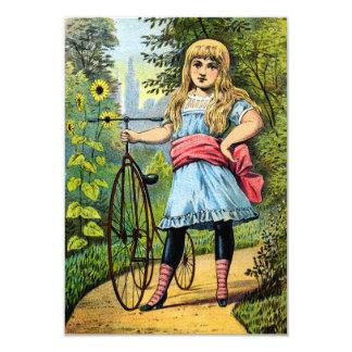 diecinueveavo C. Chica y su triciclo Invitación 8,9 X 12,7 Cm