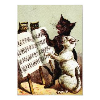 diecinueveavo C. Gatos del canto Invitación 11,4 X 15,8 Cm
