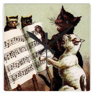 diecinueveavo C. Gatos del canto Reloj Cuadrado