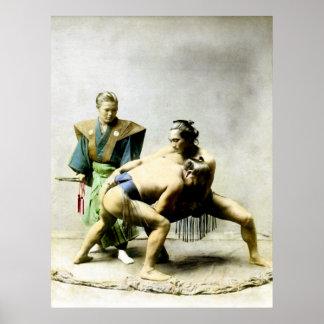 diecinueveavo C. Luchadores japoneses Póster