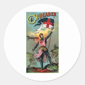diecinueveavo C. Poster del tabaco del cruzado Pegatina Redonda