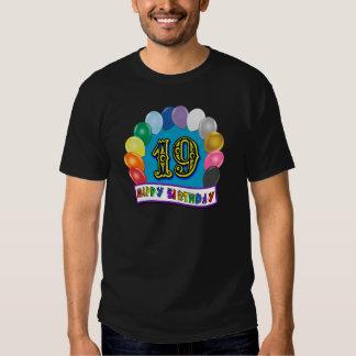 diecinueveavo Camisetas del globo del cumpleaños Remeras