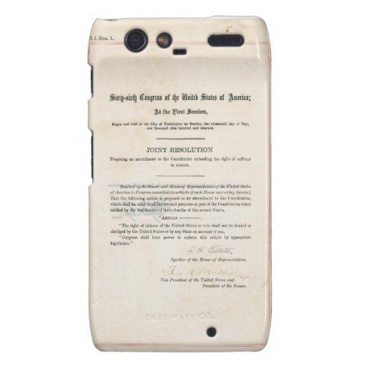 Diecinueveavo constitución de los E.E.U.U. de la e Motorola Droid RAZR Carcasas