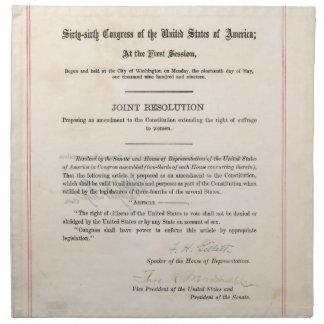 Diecinueveavo constitución de los E.E.U.U. de la e Servilletas