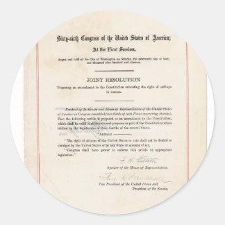 Diecinueveavo constitución de los E.E.U.U. de la Pegatina Redonda