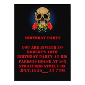 diecinueveavo Cráneo del cumpleaños e invitación Invitación 13,9 X 19,0 Cm