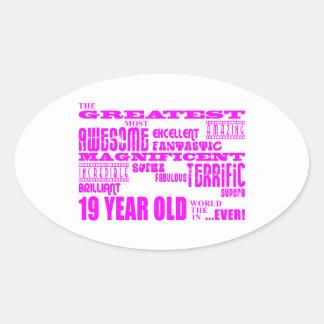 Diecinueveavo cumpleaños de los chicas: 19 años pegatina ovalada