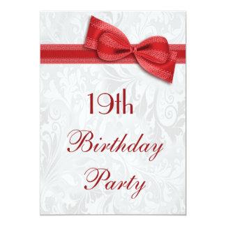 """diecinueveavo Damasco de la fiesta de cumpleaños y Invitación 5"""" X 7"""""""