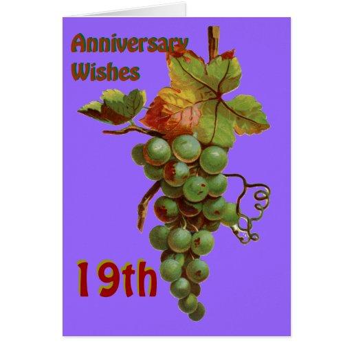 diecinueveavo Deseos del aniversario, Tarjeta De Felicitación