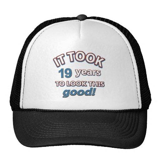 diecinueveavo diseños del cumpleaños del año gorro de camionero
