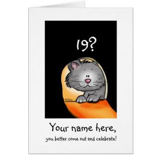 diecinueveavo El gato del cumpleaños personaliza c Tarjetón