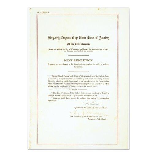 diecinueveavo Enmienda a la constitución de Invitación 12,7 X 17,8 Cm